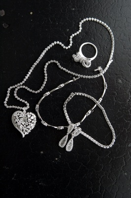 Bride's necklace, ring, earrings, and bracelets