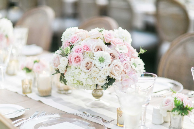 Reception Décor Photos - Low Centerpiece with White & Pink Flowers ...
