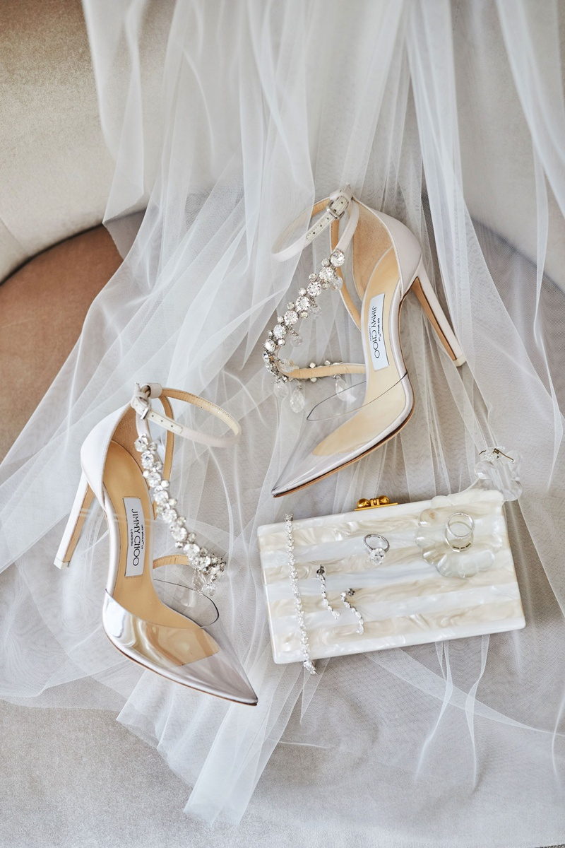 wedding accessories veil and jimmy choo heels clear toe with jewel strap mother of pearl clutch