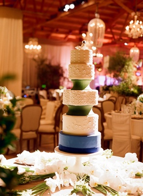 Five layer round cake with blue and green fondant