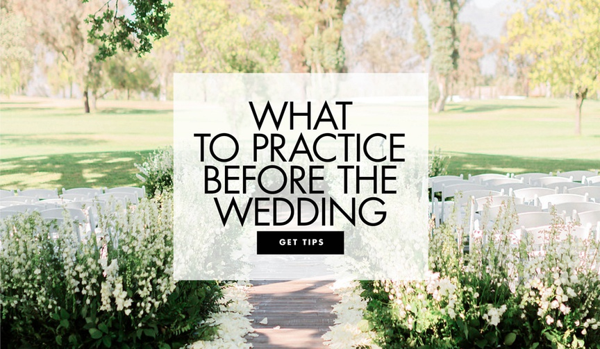 outdoor ceremony space with flower-lined aisle, what to practice before your wedding