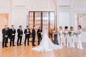 wedding ceremony with bridesmaids and groomsmen historic ballroom los angeles downtown la candles