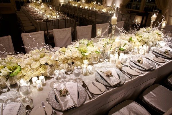 White Flower And Silver Branch Table Runner Wedding Reception