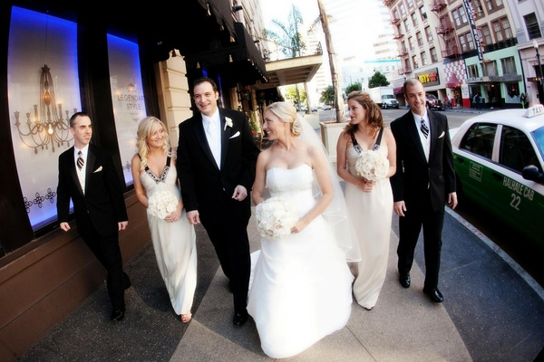 Bridesmaids and groomsmen in Little Italy