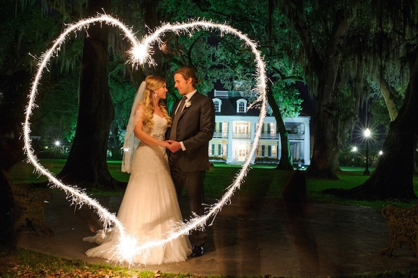 Sparkler firework designs wedding portraits