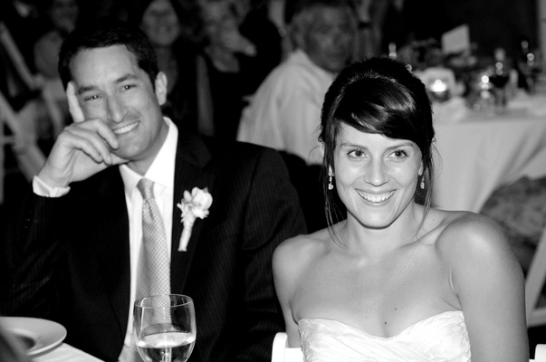 Black and white photo of couple at reception