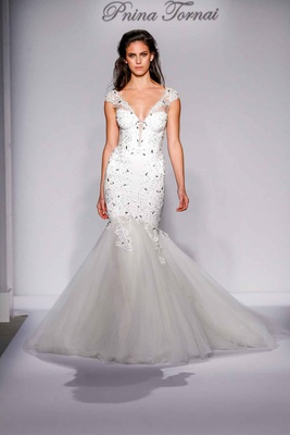 Pnina Tornai for Kleinfeld 2016 tulle mermaid skirt with crystal bodice and straps