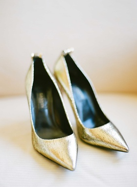 Lanvin metallic gold bridal shoes wedding day heels pumps