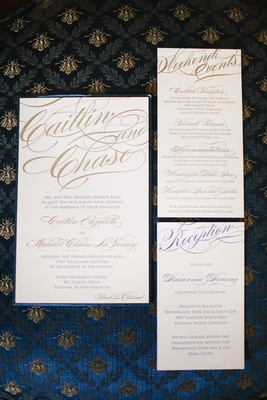 Wedding invite cards with blue and gold script font