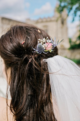 natural floral headpiece hair clip thistle blue pink blush real flowers veil british english wedding