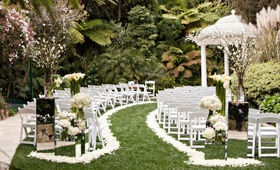 hotel bel-air wedding ceremony white flower petal aisle, mirror stands white gazebo
