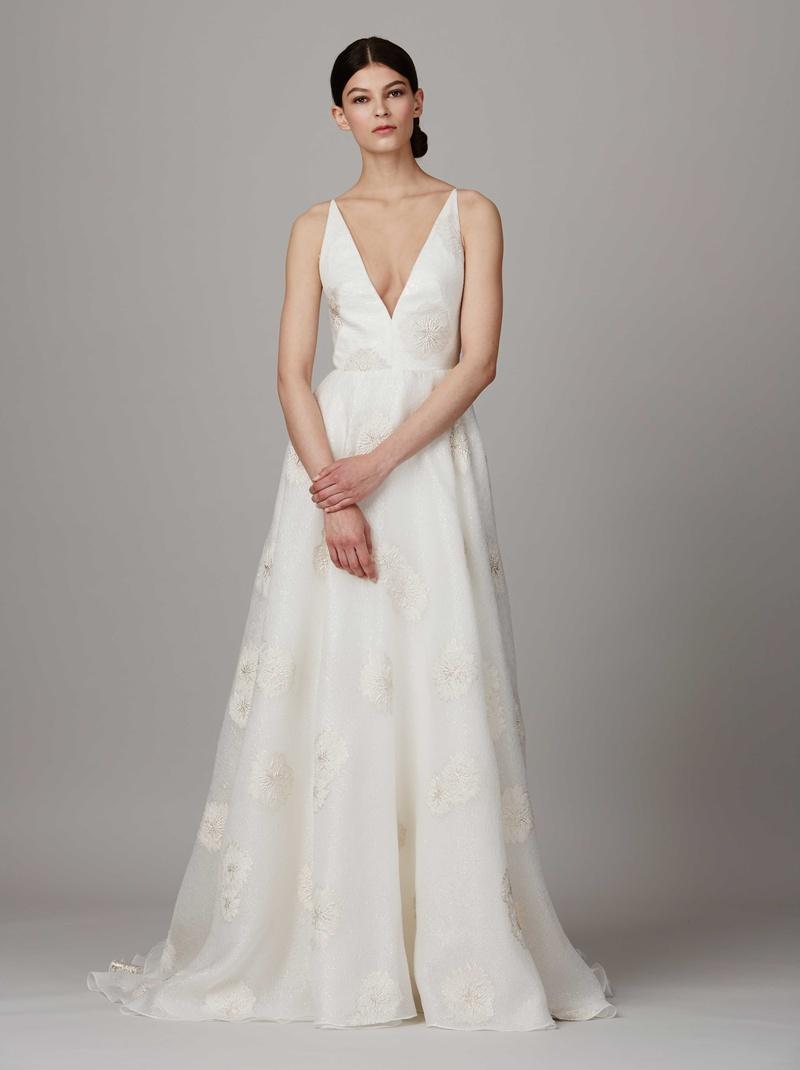 82af316ea98 Lela Rose Bridal Spring 2017 The Waterfall Halle deep v-neck wedding dress  with shimmer