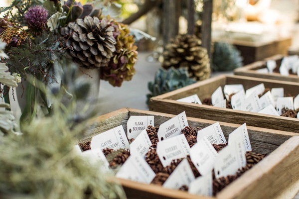 escort cards with pinecones in wooden boxes