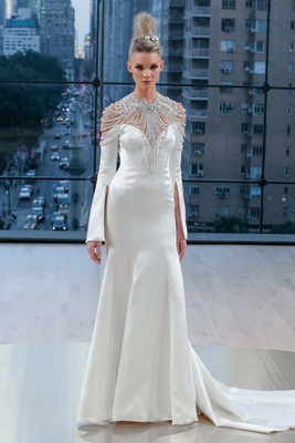 """Astrid"" Ines Di Santo fall 2018 long sleeve trumpet pleat wedding dress off shoulder bell sleeve"