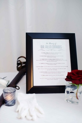 Military wedding table in honor of fallen soldiers