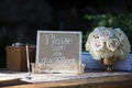 wedding guest book side made with burlap