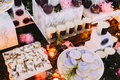 Wedding reception candles with cakes and desserts dessert bar wedding marble cookies personalized