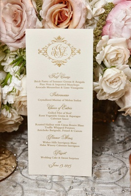 Wedding monogram in gold on menu card with gold writing for Chicago wedding