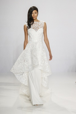 Christian Siriano for Kleinfeld Bridal column gown wedding dress with lace overlay and neckline