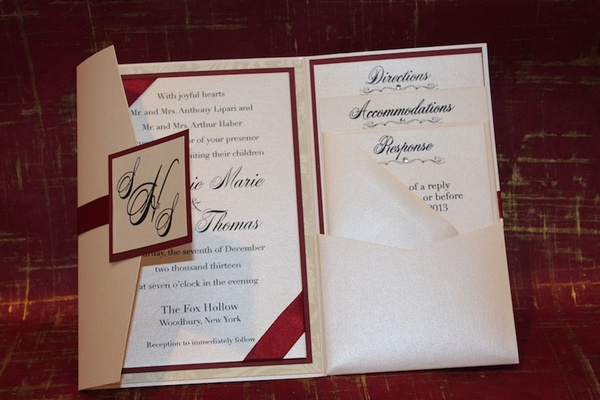 Sparkle and Ink red and white wedding invitation