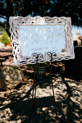 welcome sign, mirrored sign, double wedding in malibu white calligraphy white mirror frame