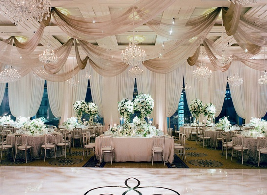 Ceiling Drapery Chandeliers White Cream Table Linens Green Centerpieces  Dance Floor Decal ...