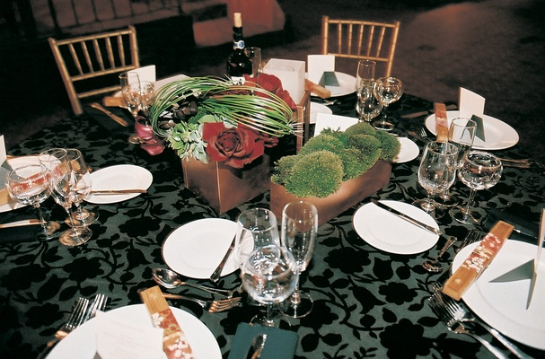 Textured tablecloth and succulent centerpiece