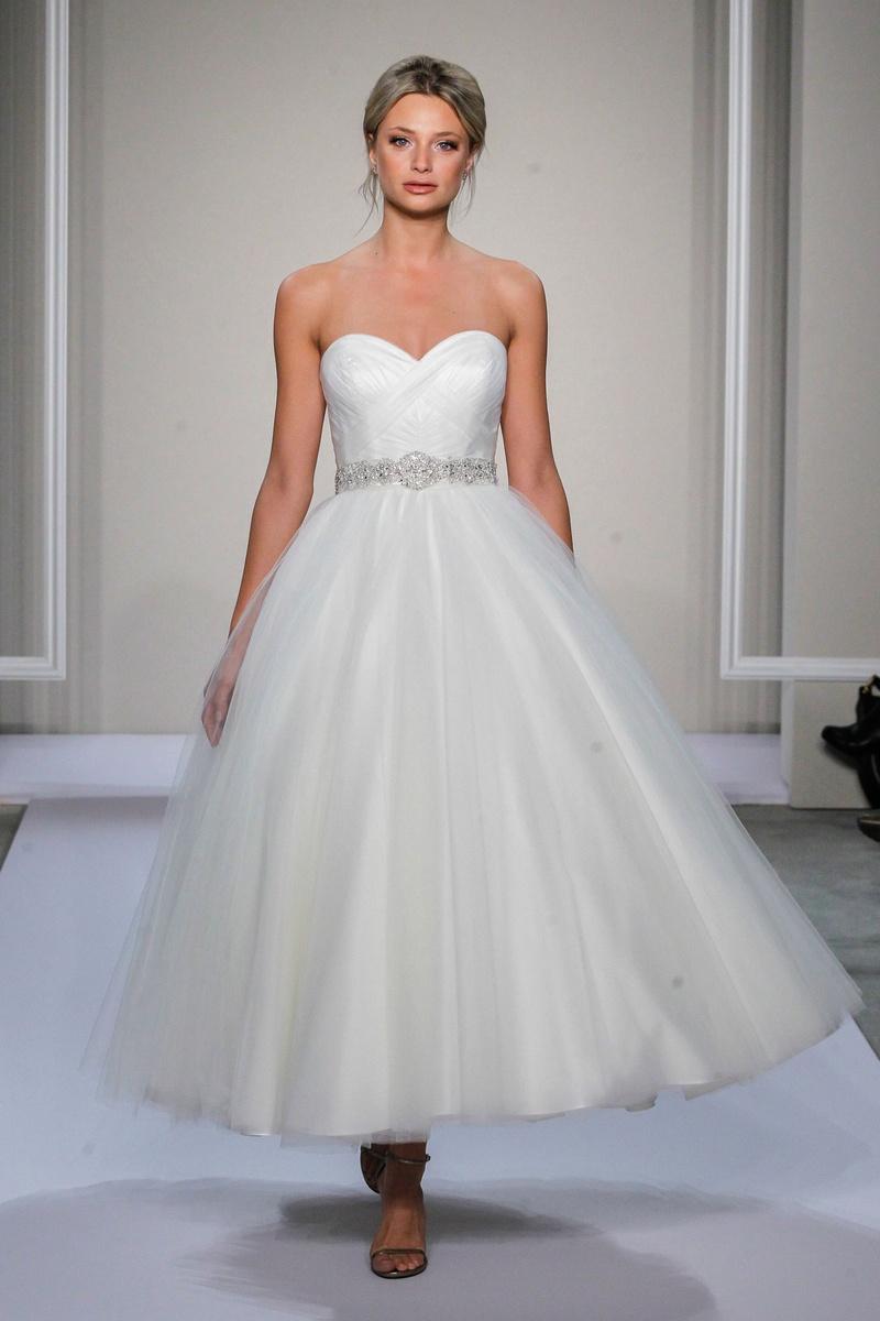 Dennis Basso 2016 strapless tea-length wedding dress with sweetheart neckline