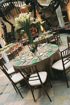 Brown linens and white calla lily centerpiece