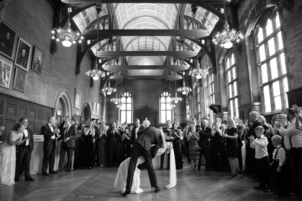 black and white photo of wedding reception first dance grand hall historic hotel high line hotel dip