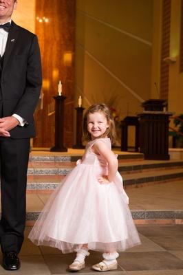 Light pink flower girl formal ball gown dress
