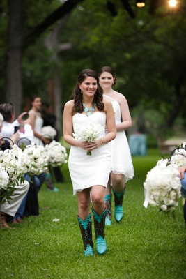 Bridesmaids in Nardos Imam strapless gown and turquoise and brown cowboy boots