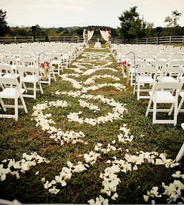 Flower Petal Designs for the Wedding Ceremony Aisle - Inside Weddings