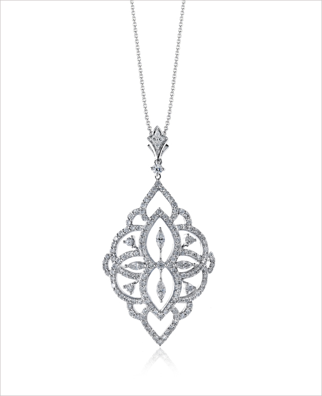 Simon g jewelry bridal accessories inside weddings pendant of 18k white gold with 66ctw of round white diamonds and 15ctw of marquise cut diamonds 3850 audiocablefo