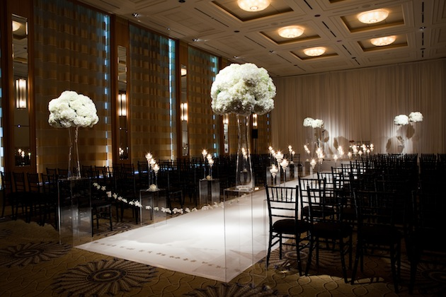 All White Indoor Wedding Ceremony Site: Wedding Decorations