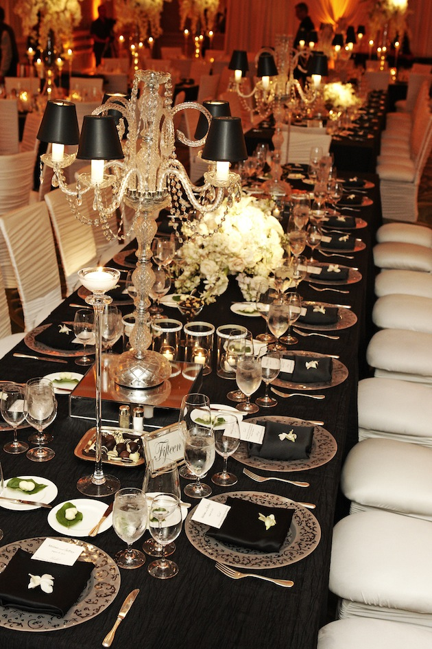 Wedding reception ideas reception tables inside weddings for Black and white tablescape ideas