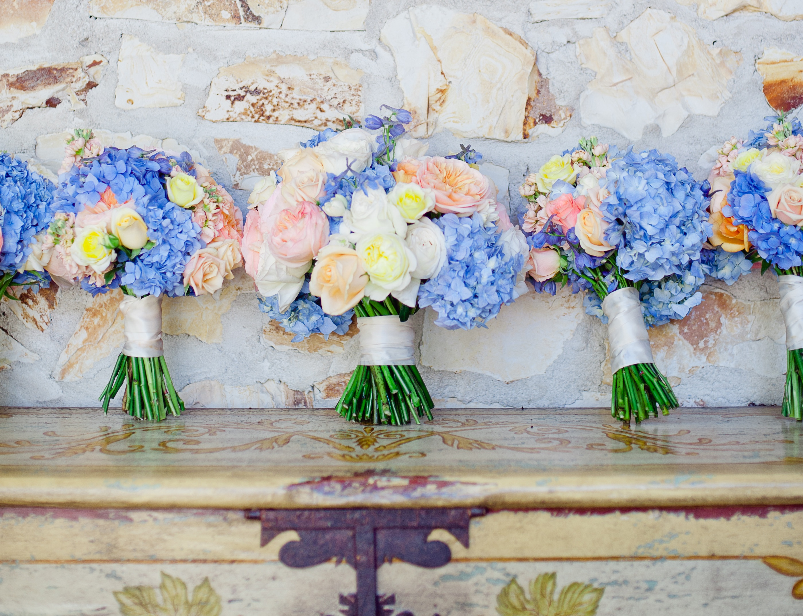 Blue wedding flowers inside weddings color has been the single most exciting trend in weddings the past few years with some of the most beautiful and memorable dcor involving unlikely color izmirmasajfo
