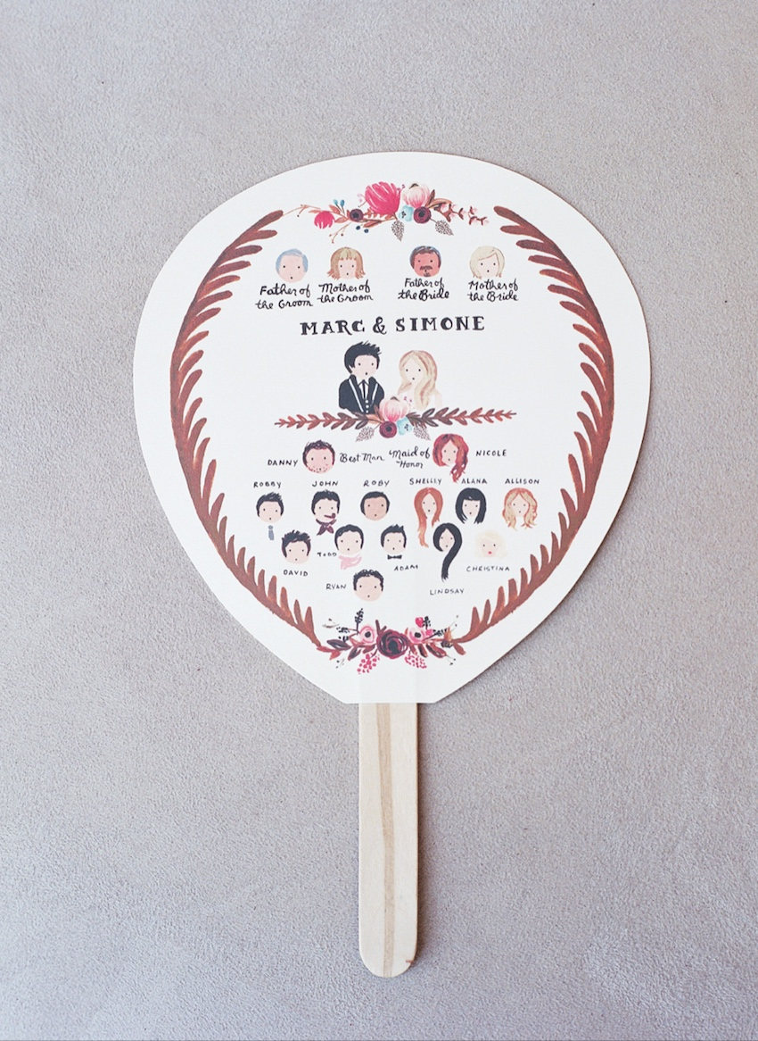 wedding fans Ceremony Fan with Illustrations of Wedding Party