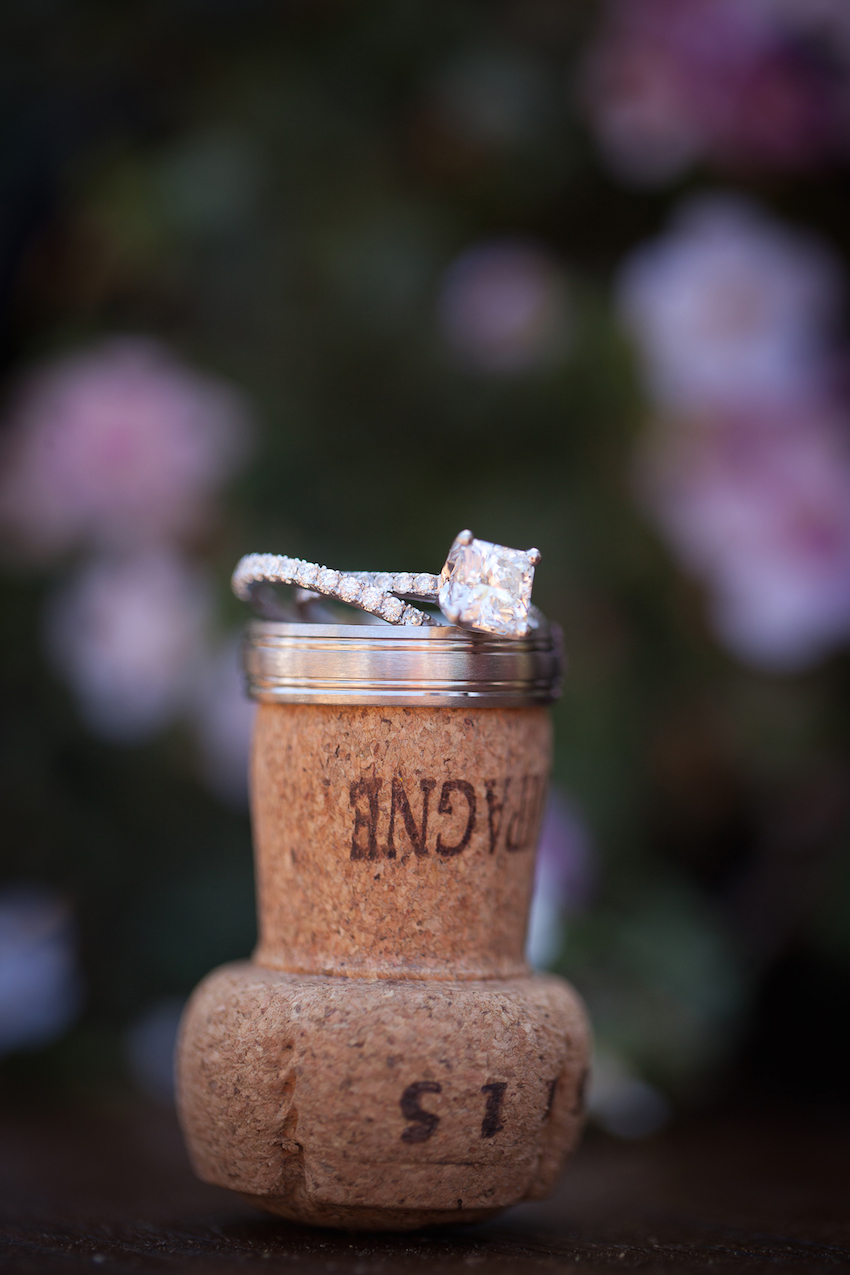 Engagement ring on wine champagne cork