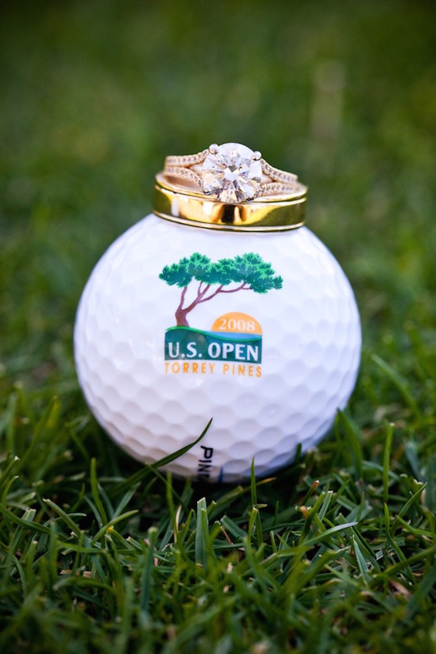 Round Diamond Ring on Golf Ball