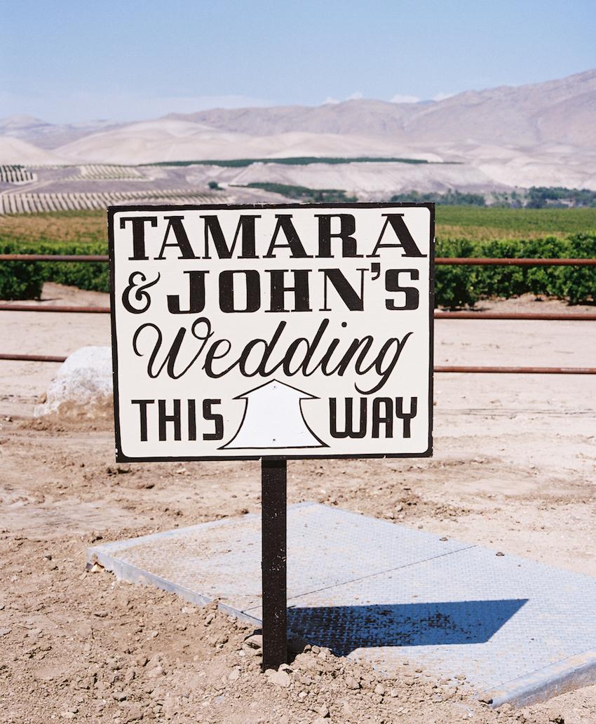Rustic wedding sign at Ojai wedding ceremony