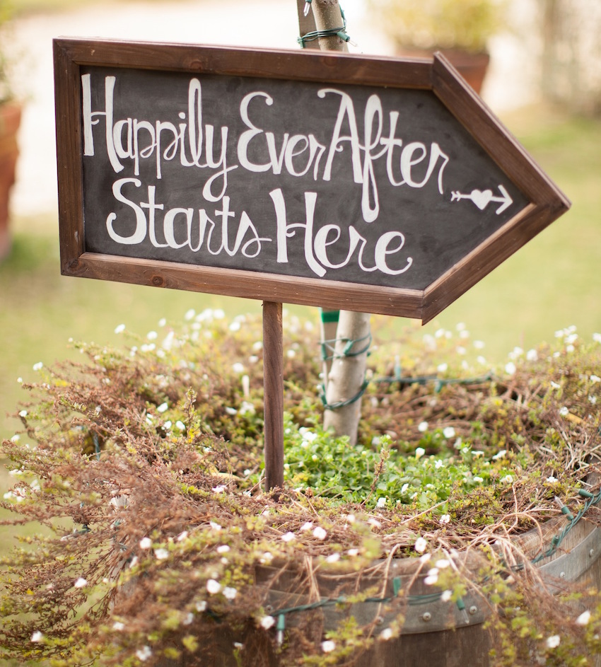 Chalkboard happily ever after wedding sign