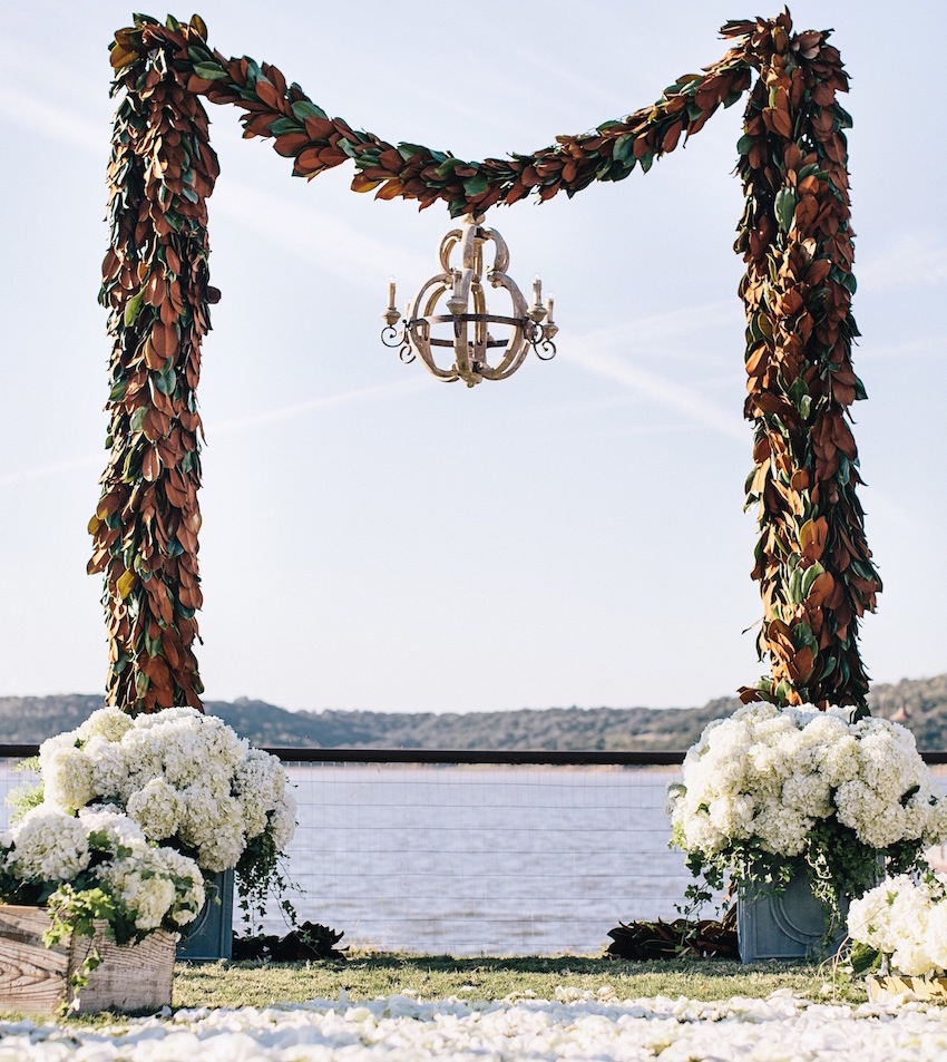 Magnolia Leaf altar wedding ceremony structure