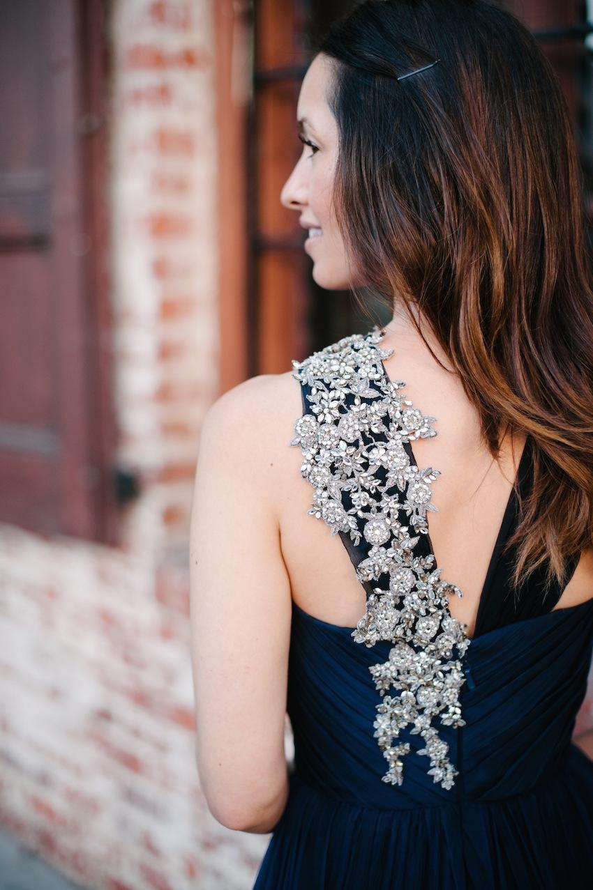 Jewel flower print bridesmaid dress detail