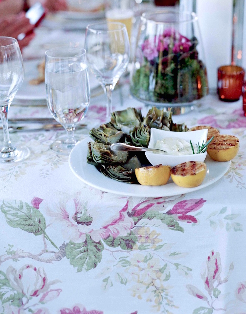 Flower print tablecloth linen at rehearsal dinner