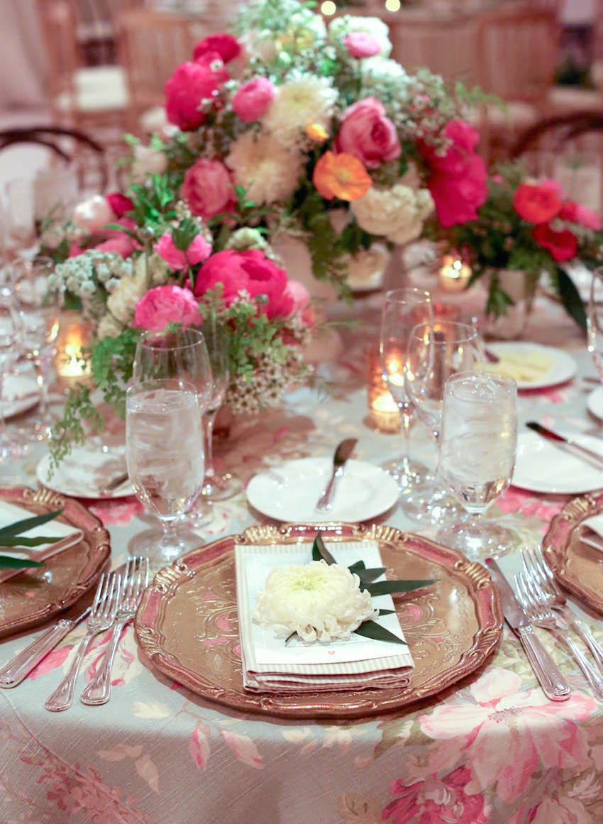 Flower print tablecloth at wedding reception