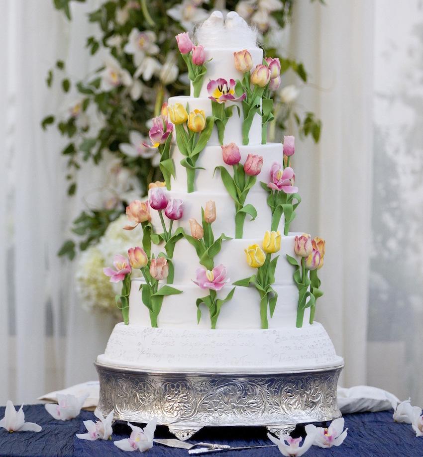Tulip sugar flowers on wedding cake