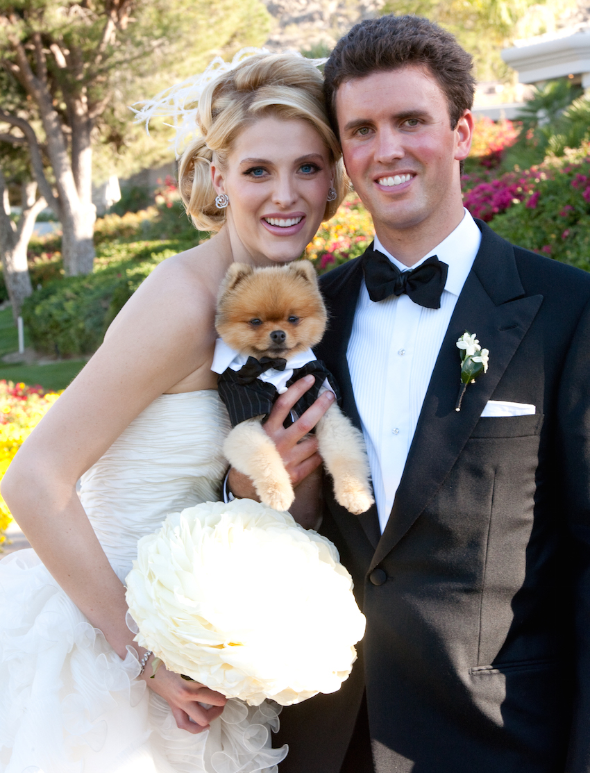 Bride and groom with pomeranian in tuxedo