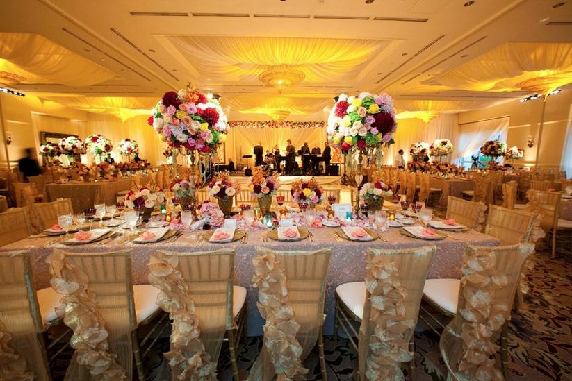 Indoor wedding reception table