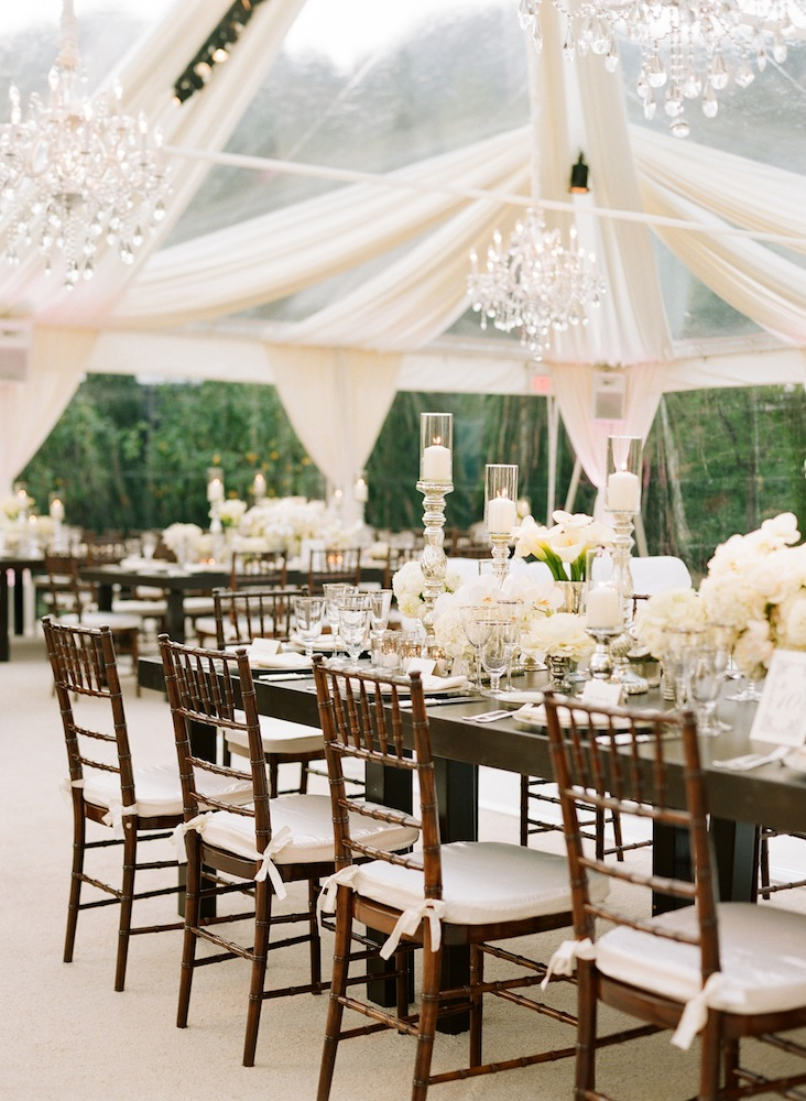 Outdoor wedding reception with drapes